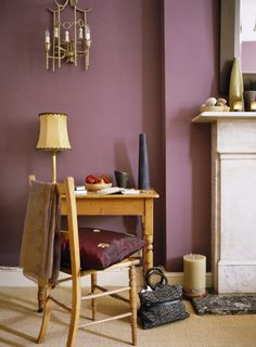 Plum wall color with blonde wood - a nice contrast. (Yellow and purple, opposites on the color wheel. Plum Walls, Ombre Walls, My Home Design, House Design, Burgundy Bedroom, Home Bedroom, Bedroom Ideas, Master Bedroom, Wall Colors
