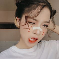 Scar are beautiful on the bandaid Unique Makeup, Cute Makeup, Makeup Looks, Asian Makeup, Korean Makeup, Korean Aesthetic, Aesthetic Girl, Makeup Inspo, Makeup Art