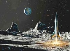 Remembering my childhood with fond memories of space, space ships, robots, and all things science fiction. Arte Sci Fi, Sci Fi Art, Apollo 11, Cosmos, Ufo, Art In The Age, Classic Sci Fi, Vintage Space, Retro Futuristic