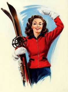 34 Trendy sport girl cartoon pin up Pin Up Vintage, Images Vintage, Vintage Pictures, Vintage Cards, Vintage Paper, S Ki Photo, Ski Card, Vintage Ski Posters, Vintage Winter