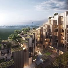The rooftops of this apartment plan, currently under construction in Stockholm's Gärdet district, are covered in foliage »