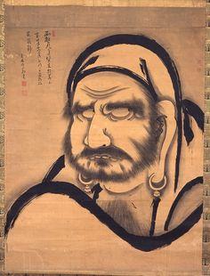 Hakuin Ekaku (1686-1769), Half Body Daruma Zen Painting, Chinese Painting, Chinese Prints, Zen Design, Japanese Artwork, Zen Art, Buddhist Art, Japan Art, Japanese Artists