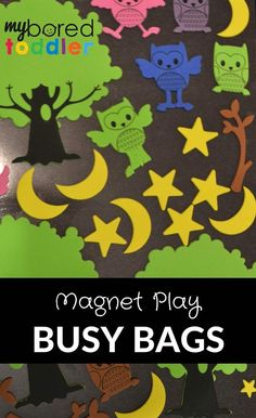 toddler busy bags magnet play - an easy toddler activity idea Toddler Busy Bags, Easy Toddler Crafts, Toddler Play, Toddler Preschool, Kids Crafts, Fun Activities For Toddlers, Infant Activities, Preschool Activities, Preschool Projects