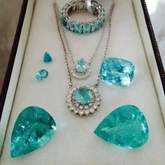 astonishing Brazilian and African paraiba tourmalines