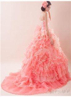 花飾りのお姫様の甘美 着心地最高のトレーン披露宴ドレス ロングドレス