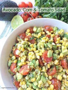 AVOCADO< CORN & TOMATO SALAD- simple, fresh, light, and completely delicious and addictive | www.togetherasfamily.com