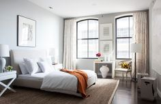 Anatomy of a Romantic Room: There's nothing sexier than a room completely devoid of clutter, but pale gray walls, sleek white furnishings, and a simple, textural rug make it livable. Home Bedroom, Bedroom Decor, Master Bedroom, Bedroom Ideas, City Bedroom, Shabby Bedroom, Serene Bedroom, Small Bedrooms, Shabby Cottage