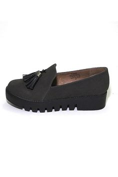 """Grey suede platform loafer with black tassels. Lugsole platform.    Measures: 1.5"""" platform   Grey Platform Loafer by Jeffrey Campbell. Shoes - Flats - Loafers & Oxfords South Carolina"""