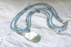 Ocean+Blue+Pendant+Necklace+Beaded+Jewelry+Multi+by+FELTandGEM,+$18.00