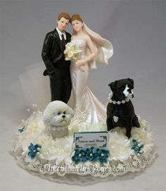 Customized pets with bride and groom wedding cake topper. Shown with customized boxer and Bichon Frise in ivory with teal accents. Personalized hair color changes.. Includes name and wedding date plate.  http://www.affectionately-yours.com/yours-mine-and-ours-wedding-cake-topper/