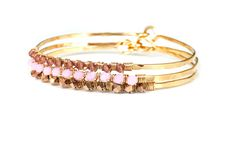 Think pink this October in honor of Breast Cancer Awareness Month with a sparkling array of accessories that support various breast cancer awareness initiatives Gifts For Wedding Party, Party Gifts, Bangle Set, Breast Cancer Awareness, Wire Jewelry, Foundation, Swarovski, October, Bracelets