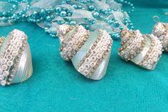 Embellished Shell Ornaments.  #holidays #ornaments #nautical #coastal #beach