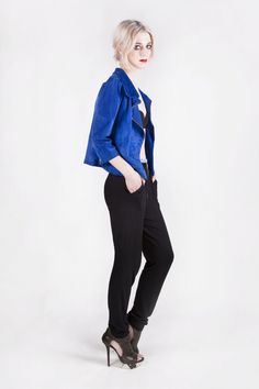 I love this outfit. The blue suede jacket looks amazing! Amanda Duran's collection is soon available on Etsy.com!