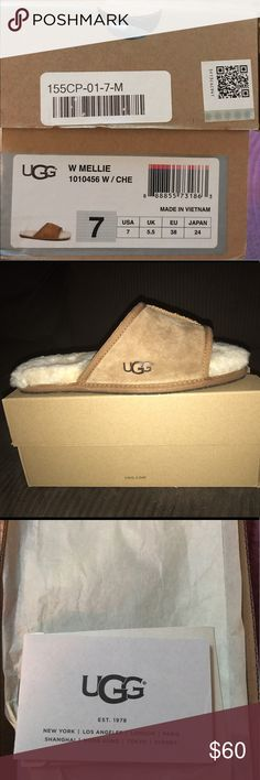 UGGS size 7 womens Mellie slipper UGGS size 7 women Mellie slippers. Never worn. NEW WITH BOX UGG Shoes Slippers