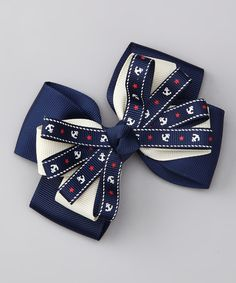 Take a look at this Blue Anchor Clip by Bubbly Bows on #zulily today!