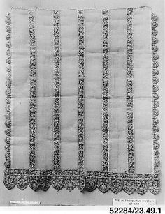 Apron (?) Date: 16th century; Culture: Italian; Medium: Cutwork; Dimensions: L. 42 1/2 x W. 34 1/2 inches 108.0 x 87.6 cm; Classification: Textiles-Laces; Accession Number: 23.49.1