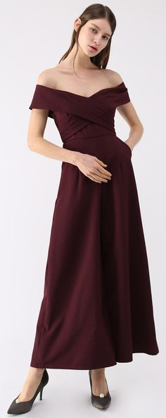 05a7d755c009 Eternal Sweet Cross Breast Off-Shoulder Jumpsuit in Wine Black Find more at  Chicwish