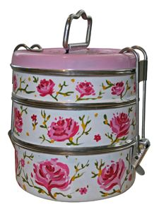 Handpainted Rose Designed 3 Tier Tiffin (white)