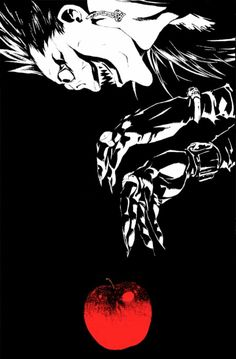 Ryuk always wears a heart earring in his left ear only. and did I mention his love for apples? Shinigami, Manga Anime, Anime Art, Otaku Anime, Death Note L, Light Yagami, Anime Crossover, Naruto Wallpaper, Cultura Pop