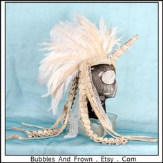 Dirty Ponycorn.. Unicorn Headdress with Feather door BubblesAndFrown, $226.66