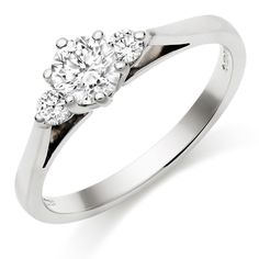 Platinum Diamond Three Stone Ring DD2086 from Beaverbrooks the Jewellers