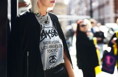 Draping, chains, and cult tees, can't do any better! (photo via Jak & Jil)