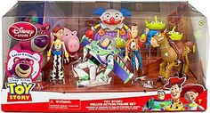 Disney / Pixar Toy Story 3 Exclusive 10 Piece Deluxe Action Figure Set with GlowintheDark Buzz! by Mattel. $54.42. Find a collection of Andys favorite action figures in this Toy Story mega set featuring 10 characters in all. Included are 4 exclusives youll only find in this terrific toyboxed assortment.Product Details Set of 10 Toy Story action figures Characters include Woody, Buzz Lightyear, Jessie, Bullseye, Hamm, LotsOHuggin Bear, Hamm, Chuckles and 3 Aliens Buzz has...