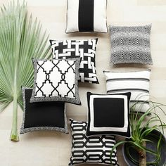 Love these black and white outdoor pillows!