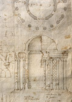 goodnighturpis:1560s Andrea Palladio Plan, elevation and details of the Round Temple ('Temple of Vesta') in the Forum Boarium, Rome mature handwriting Plan and elevation: ruler and stylus, compasses, pen and brown ink, brush and pale grey wash; details: pen and brown ink, drawn freehand; underdrawing and some calculations in black chalk or graphite; the note at the bottom of the page was added later by Palladio in a darker ink; London, RIBA Library, Drawings and Archives Collection, SC213/VII