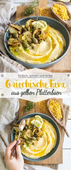 Fava – Griechischer Hummus aus gelben Platterbsen If you love hummus, you should try! Grilling Recipes, Crockpot Recipes, Keto Recipes, Healthy Recipes, Hummus, Strawberry Bread Recipes, Tapas, Greek Dishes, Healthy Appetizers