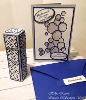 Glückwunschkarte mit kleiner Hochkantgeschenkbox für neue Großeltern.