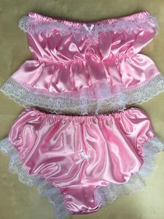 Starter bra top and knickers edged in lace pink satin made to measure Sheer Lingerie, Vintage Lingerie, Women Lingerie, Lingerie Underwear, Organza Dress, Satin Dresses, Baby Doll Nighties, Satin Teddy, Daddys Little Princess