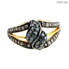 Studded Natural Diamond Sterling Silver 14k Gold Ring Jewelry CHRISTMAS DAY GIFT #Handmade #Cluster