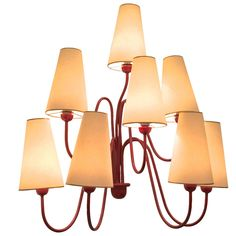 """Jean Royère Red Eight-Light Sconces, Model """"Jet d'Eau"""" 