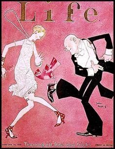 """Teaching Old Dogs New Tricks"" - Life Magazine, 1925 (John Held, Jr.)"