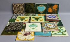 A collection of various 19th century and later tiles to include encaustic, Minton, Art Nouveau, and Aesthetic examples.#tiles #antique #ukauctioneers