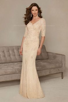 Sheath/Column V-neck Scalloped Sweep/Brush Train Lace Mother of the Bride Dress