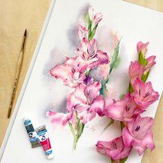"""""""Gladiolus sketch. I'm back.) #watercolor #aquarelle #art #artist #sketch…"""