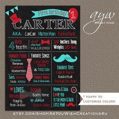 Little Man Chalkboard Poster Mustache 1st by AsYouWishCreations4u