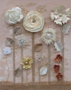 Shabby Chic Mixed Media Garden Art in Neutral Tones, Perfect for Wedding Decor, Home Decor, Nursery or Child's Room. on Etsy, $30.00