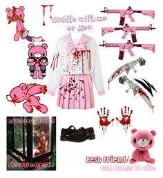 """""""Creepypasta Oc #12 Bloody Bear"""" by pastelgothprincess27 ❤ liked on Polyvore featuring Dr. Martens"""