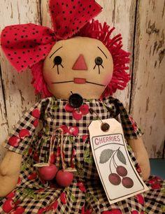 Primitive Raggedy Annie Doll w/ Cherries ~ Ann ~ Prim ~ Cherry Ann, Homemade Dolls, Raggedy Ann And Andy, Fabric Dolls, Primitives, Doll Patterns, Cherries, Stuffed Animals, Annie