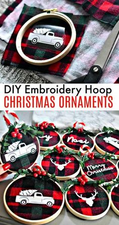 "Simple DIY Christmas Gifts Holiday Decoration Ideas""},""story_pin_data_id"":null,""type"":""pin These beautiful and simple DIY embroidery hoop Christmas ornaments are so darned fun. Make these at a fun craft night with friends! Diy Christmas Ornaments, Christmas Projects, Holiday Crafts, Snowman Ornaments, Diy Gift Ideas For Christmas, Christmas Crafts To Sell Handmade Gifts, Buffalo Plaid Christmas Ornaments, Cricut Christmas Ideas, Diy Christmas Decorations"