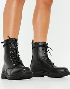 caf911df4 Black Lace Up Combat Boots for Women - Once again the military style combat  boot is a must have for women wanting a more edgy look - These black combat  ...