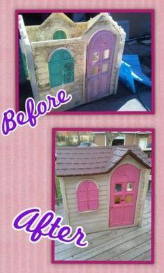 Cute repainted playhouse by randi Painted Playhouse, Shed Playhouse, Playhouse Furniture, Pallet Playhouse, Playhouse Outdoor, Outdoor Play, Outdoor Decor, Backyard For Kids, Diy For Kids