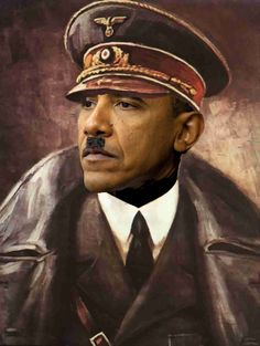 Hitler killed over 6 million Jews and Mr Obama no one hmm me thinks a bit of racism is being depicted in this photo shopped image....GOP supporter....and they want the black Americans to vote for the GOP...GOOD LUCK ON THAT!