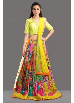 Ethnic Wear Multicolour French Crepe Lehenga Choli - 60248
