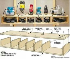 Organize sanders and small saws and their cords with this wood cubby