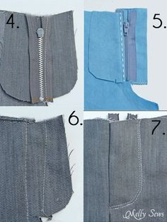 How to Sew a Zipper Fly 1.Finish raw edges 2.Sew Center Seam 3.Sew right (as opposed to left) side of zipper 4.Sew Fly Shield 5.Sew Left Side of Zipper 6.Sew Topstitching 7.Remove Basting Stitches