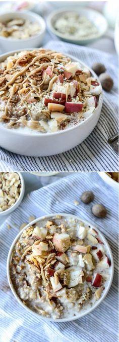 Slow Cooker Apple Cinnamon Steel Cut Oatmeal with Whipped Maple Cream Slow Cooker Apples, Slow Cooker Recipes, Crockpot Recipes, Cooking Recipes, Yummy Recipes, Savory Breakfast, Sweet Breakfast, Breakfast Recipes, Gourmet